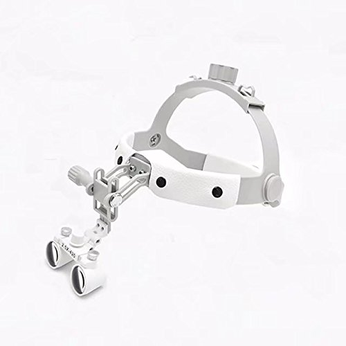 EAST Dental 2.5X420mm White Color Binocular Loupe Surgical Leather Headband Glasses+3W LED Headlight by East Dental (Image #2)