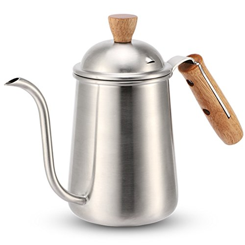 Stainless Steel Gooseneck Drip Coffee Kettle 650ml Teapot Spout Kettles Wood Handle Coffee Pot Kitchen Coffee Tools Percolators