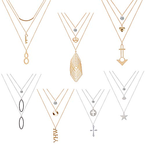 Tamhoo 7PCS Gold & Silver Tone Multilayer Chain Y Necklaces Set Sexy Layered Choker Long Necklace Cross CZ Crystal Infinite Love Luck Pendent Necklace Sets Adjustable for Teens Girl Women (7 pcs)