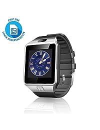 Redlemon Smartwatch Bluetooth con Ranura para Chip SIM Compatible con Android, Cámara, Pantalla Táctil, Contador de Calorías, Notificaciones de Redes Sociales y Mensajería,Ranura Micro SD Modelo DZ09
