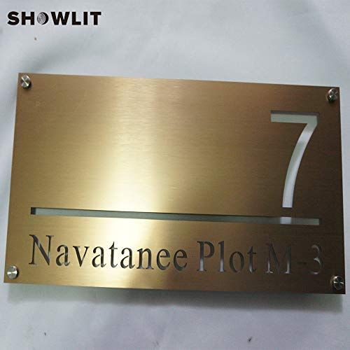 [해외]Showlit Golden Wall Plates Custom Company Name Signs Metal Door Plates for Factory Outside Address Plaques / Showlit Golden Wall Plates Custom Company Name Signs Metal Door Plates for Factory Outside Address Plaques