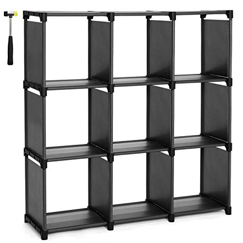 SONGMICS 9 Cube DIY Storage Shelves Open Bookshelf Closet Organizer Rack Cabinet Black ULSN45BK