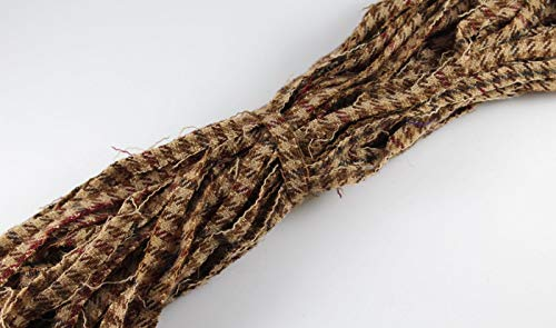 - 100% Wool Up-cycled #8 Strips - Qty 50 - Brown Stripe