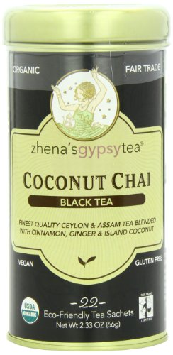 Zhena's Gypsy Tea, Coconut Chai, 22 Count  Black Tea Sachets