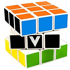 V-Cube 3x3 Flat Brain Teaser Puzzle, White/Multicolor