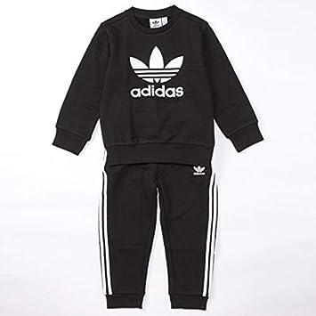 adidas Crew Set Chándal, Unisex niños, Top:Black/White Bottom ...