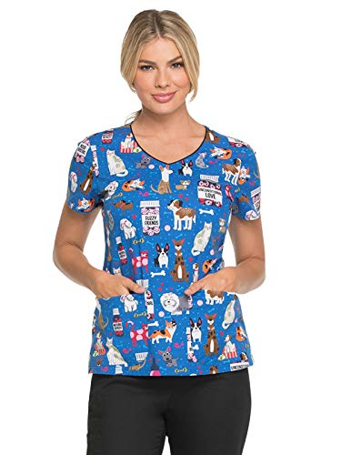 Dickies EDS V-Neck Scrub Top, M, Unconditional Love