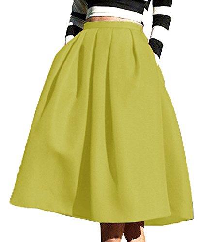 Winfon Femme Jupe Patineuse Taille Haute Vintage Mi Longue Chic Rtro Midi Jupe Plisse Jaune