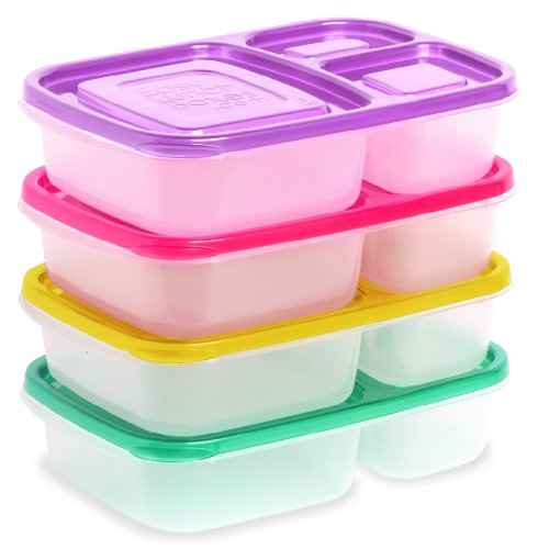 easylunchboxes 3 compartment bento lunch box containers set of 4 brights buy online in uae. Black Bedroom Furniture Sets. Home Design Ideas