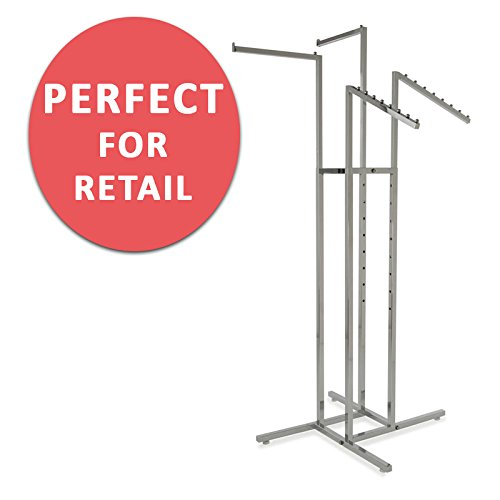 Clothing Rack – Heavy Duty Chrome 4 Way Rack, Adjustable Arms, Square Tubing, Perfect for Clothing Store Display With 2 Straight Arms and 2 Slanted Arms, Takes Up Only 32 Inches of Floor (Chrome Clothing Retail)