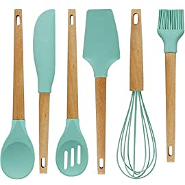 """Baking Utensils Set,Silicone Baking Tool Supplies kitchen Gadgets Set of 6, Wood Handle Balloon Whisk,Slotted Spoon,Solid Spoon,Spatula,Long Scraper and Pastry Brush 2 ✅Premium Natural Beech Wood Baking Utensils Set--Beech is comparable to maple in hardness and extremely durable and Beech handles may have unique variations in its grain pattern showcasing the wood's inherent beauty. ✅100% Food Grade Silicone Utensil Heads--All silicone utensil heads are heat resistant to 400°F .FDA compliant 100% Food-grade silicone. Our silicone is BPA-free and won't leach harmful chemicals or odors into your food. ✅Complete Set of 6--12'' Spatula, 12'' Slotted Spoon,12'' Spoon, 12'' Long Scraper, 11"""" Oil Brush,12"""" silicone-coated Balloon Whisk; Included tools are perfect for all baking tasks such as folding egg-whites, hand-mixing batter for cookies, muffins and cakes, scraping mixing bowls and jars, whisking and blending ingredients, applying sauces, marinades, etc."""