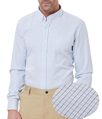 Men's Classic Plaid Shirt Long Sleeve Button Down Cotton Check Shirt Size L ()