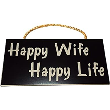 Happy Wife Happy Life Wood Sign for Home Wall Decor -- PERFECT FUNNY QUOTES GIFT!