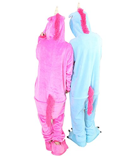 Duraplast Animal Costume Onesie Pajamas Warm Fleece Unicorn Horse with Tail (Hot Pink,S) (Twin Girl Costumes)