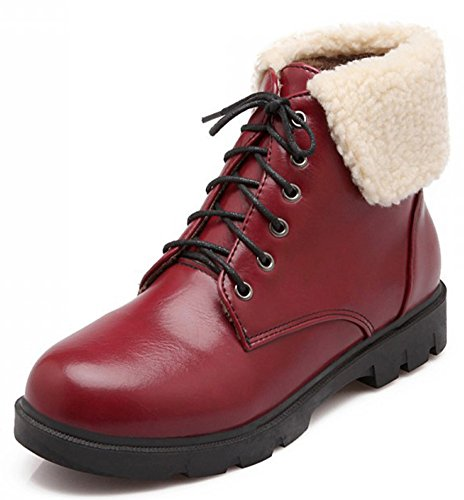 IDIFU Womens Casual Fold Low Chunky Heels Ankle Boots Short Martin Booties Lace Up Red 0fyQl9f