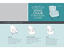 Maytex Collin Stretch 1-Piece Slipcover Wing Chair, Blue