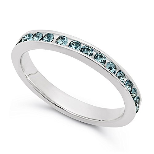 925 Sterling Silver Italian Crafted 3mm Simulated Aquamarine CZ Eternity Band, Size 7 + Cleaning Cloth (Silver Bling Sterling)