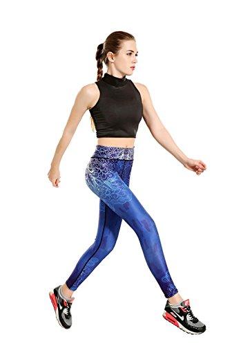 ZHLONG Femeninos delgados pantalones de yoga absorbente de sudor correr transpirable para la aptitud de impresión Pantalón tobillero yoga-0011