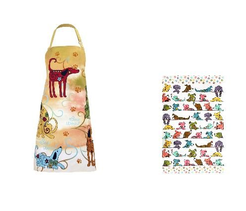 Festival Pets Animal Lovers Cute Kitchen Apron With Peeping Pets Kitchen Cotton Kitchen Towel (Dog) by Animal Rescue