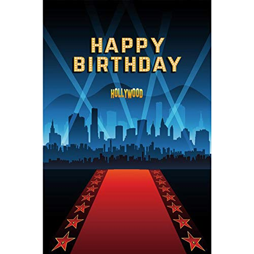 Yeele 8x10ft Happy Birthday Hollywood Background Spotlights Skyscrapers Red Carpets Fashion Style Studio Props Banner Supplies Decoration Portrait Photography for Actor Superstars (Hollywood Carpet Red Fashion)