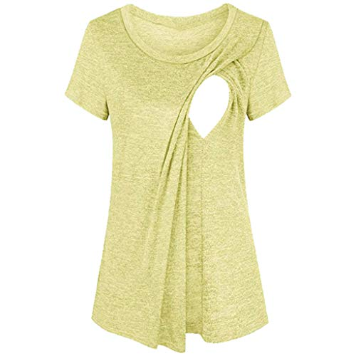 Maternity Blouses for Women Short Sleeve Layered Nursing Tops Maternity Breastfeeding Tunic Fashion Solid T-Shirt Yellow
