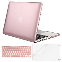 Mosiso Plastic Hard Case with Keyboard Cover with Screen Protector for Macbook Pro 13 Inch with Retina Display No CD-ROM (A1502/A1425), Rose Gold