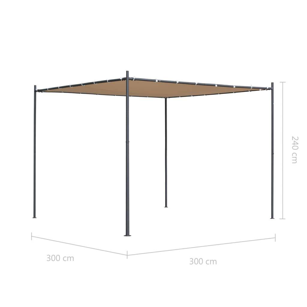 vidaXL Gazebo con Tetto Piano 3x3x2,4 m Beige Tendone per Feste Tenda Giardino