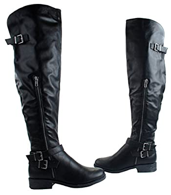 Bamboo Women's Jagger-11 Faux Leather Over Knee High Boots with Decorative Zipper