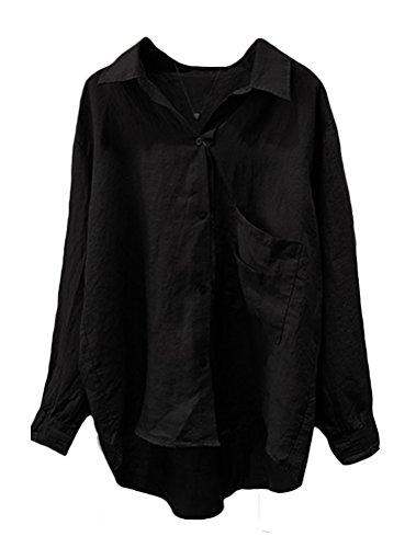 - Minibee Women's Casual Cotton Linen Blouse High Low Shirt Long Sleeve Tops XL-Black