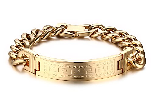Vnox Jewelry Mens Stainless Steel Chunky Heavy Great Wall Texture Link ID Bracelet,Gold
