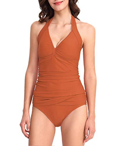 PHIBEE Women's Two Piece V-Neck Halter Tankini Swimsuits Ruched Solid Bathing Suits Rust M ()