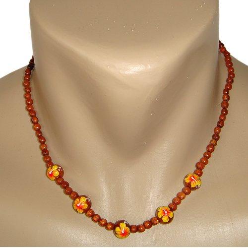 Hawaiian Koa Wood Bead Yellow Hibiscus Flower Necklace