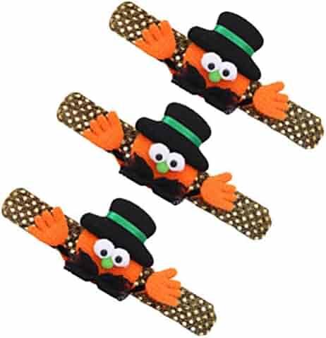 Hemobllo 3 pcs Halloween Pumpkin Watch Wrist Band Pumpkin Design Snap Strap Children Bracelet for Halloween Party
