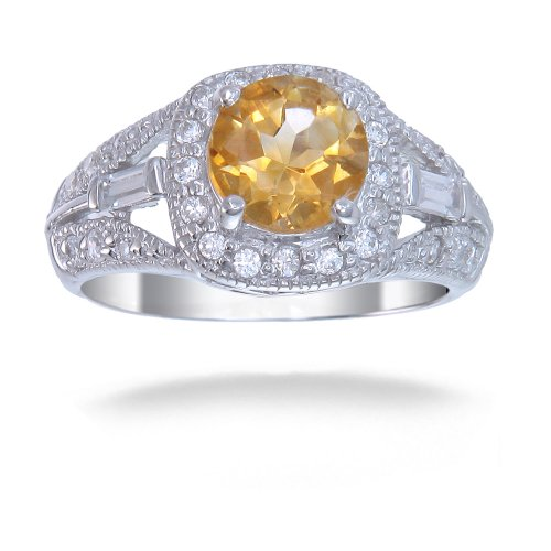 7 MM Round 1 CT Citrine Ring .925 Sterling Silver