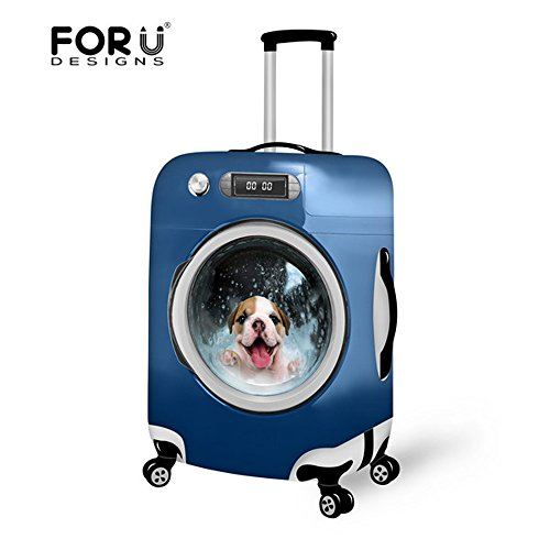 For U Designs 28-30 Inch Large Washer Style Dog Animal Design Comfortable Elastic Cloth Soft Luggage Cover