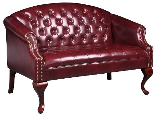 Boss Office Products BR99802-BY Classic Traditional Button Tufted Loveseat in - Office Traditional Sofa