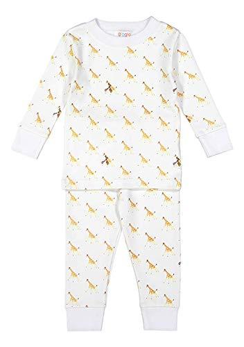 giggle Toddler Pajama Set - Baby giggle Giraffe - 100% Peruvian Pima Cotton, Sleepwear for Kids, Babies, and Toddlers, 2 Pc Pajama Set, 4 Toddler
