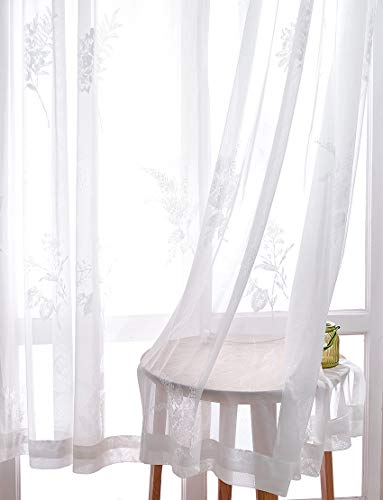 (Cherhoo Premium Country Fliral Floral Embroidered Rod Pocket Sheer Voile Window Curtains for Living Room Tulle Pureaqu Foil Sheer Curtains for Bedroom Romantic (Soft, 2 Panels, 52 W×96 L Inch, White))