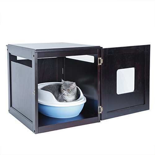 Petsfit Pet House/Cat Litter Box Enclosure Night Stand Painted with Non-Toxic and Latch Holding