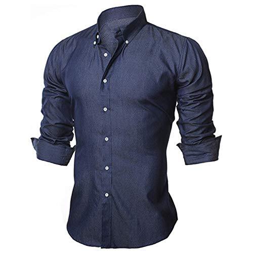 The small cat Men's Shirts European Size S-XXL 2019 Summer Casual Long Sleeve Cotton Male Denim Shirt N1091,Deepblue1,U s XL 80to92kg