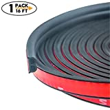 CloudBuyer Universal Car Truck Motor Door Rubber Seal Strip 51/100 Inch Wide X 1/5 Inch Thick,Weatherstrip for Car Window Door Sunroofs Engine Cover Soundproofing,Total 16.5 Feet Long