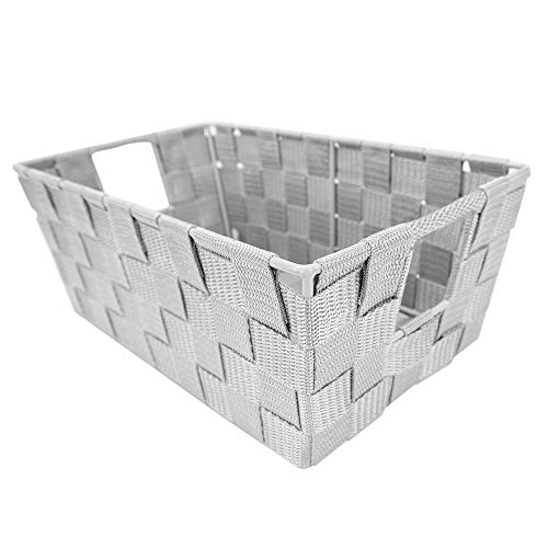 Home Basic Multi-Purpose Non-Woven Strap Shelf Storage Bins/Organizer Boxes/Wicker Baskets/Decor Stackable Storage Bin/Shelf Tote Basket with Handles (Small Cool Gray)