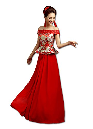 Show Wo Dress Qipao Wedding cheongsam Toast cheongsam Toast dress Slim Fishtail cheongsam Xiuhe dress National style by YY-Bride Wedding Cheongsam