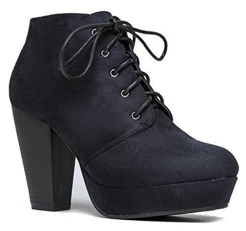 Lace up Platform Stacked Chunky Heel Bootie - Pull on Suede Boot - Black Leopard Red Wine Tan lita Ankle