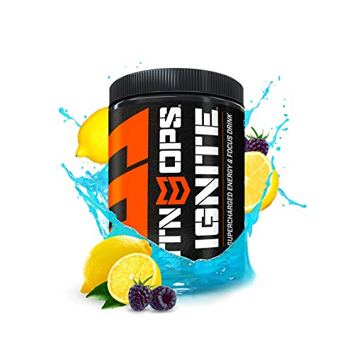 MTN OPS Ignite Supercharged Energy Drink Mix 45-Serving Tub, Blue Raspberry Lemonade