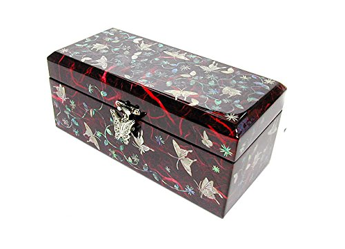 Mother of Pearl Butterfly & Arabesque Design Jewelry Box Display by JMcore High Quality Jewelry Box