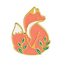 bjduck99 Unisex Cute Cartoon Fox Animal Brooch Pin Badge Jewelry Golden