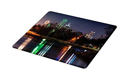 Lunarable USA Cutting Board, Dallas City Skyline Reflected in a Lake Park with Trees at Night Landscape Scenery, Decorative Tempered Glass Cutting and Serving Board, Small Size, Multicolor (Old Park Christmas City Dallas)