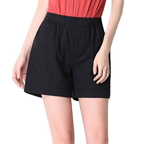 YiLianDa Mujeres De Tallas Grandes Suelto Pantalones Cortos De Cintura Elástica Negro