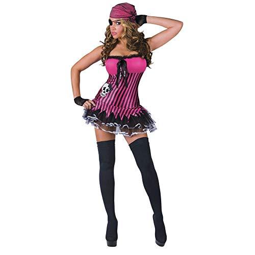 FunWorld Women's Rockin Skull Pirate Adult Costume, Pink/Black, ()